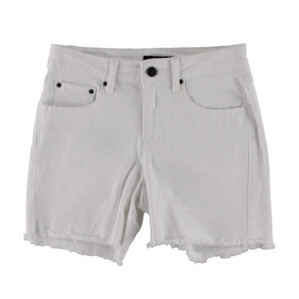 Earl Jean Womens Denim Shorts Frayed Hem Mid-Rise