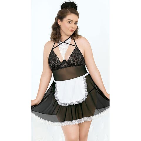 Plus Size Maid For You Lingerie Costume - Black/White