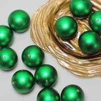 "12ct Xmas Green Shatterproof Matte UV-Resistant Christmas Ball Ornaments 4"" (100mm)"