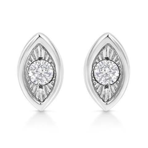 .925 Sterling Silver 1/10 Cttw Miracle-Set Diamond Marquise Shape Stud Earrings (I-J Color, I2-I3 Clarity)