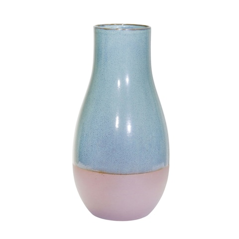 "Ceramic 14"" Vase, Teal/Burgundy"