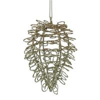 4.75 in. Silent Luxury Gold Glitter Drenched Twisted Acorn