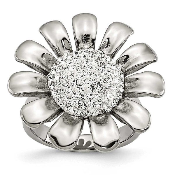 Stainless Steel Clear CZ Flower Ring (4 mm)