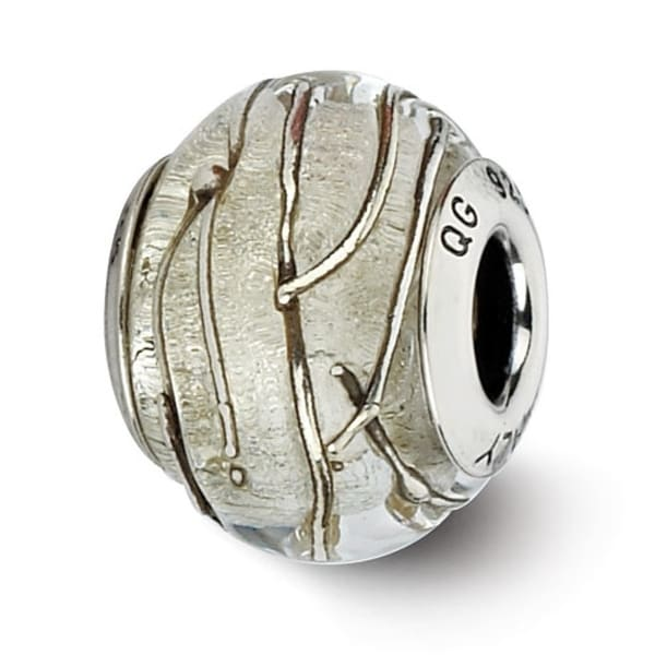 Italian Sterling Silver Reflections Clear/Silver Striped Murano Bead (4mm Diameter Hole)