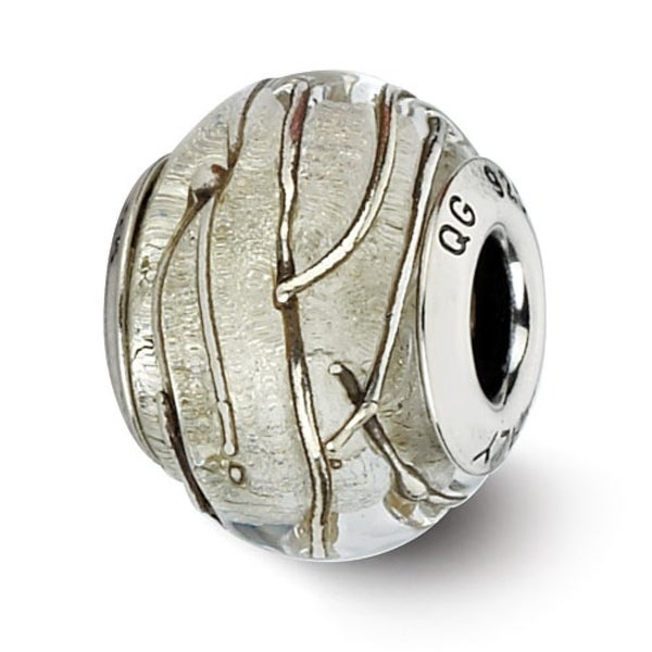 Italian Sterling Silver Reflections Clear/Silver Striped Bead (4mm Diameter Hole)