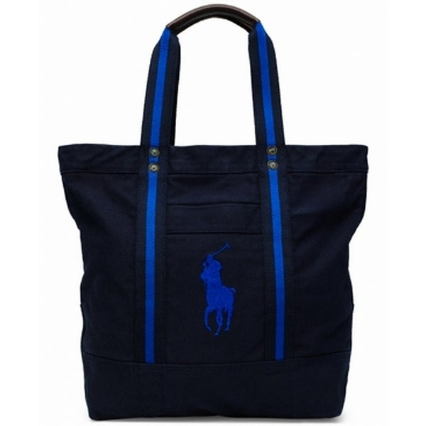 da07db3ff Shop Polo Ralph Lauren Navy Blue Big Pony Canvas Mens Tote Bag Accessory - Free  Shipping Today - Overstock - 22478937