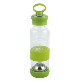 Outdoor Home Plastic Screw Cap Juice Tea Water Bottle Holder Light Green 460ml