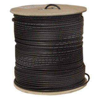 Offex Bulk RG58/U Coaxial Cable, Black, 20 AWG, Solid Core, Braided Shield, Spool, 1000 foot