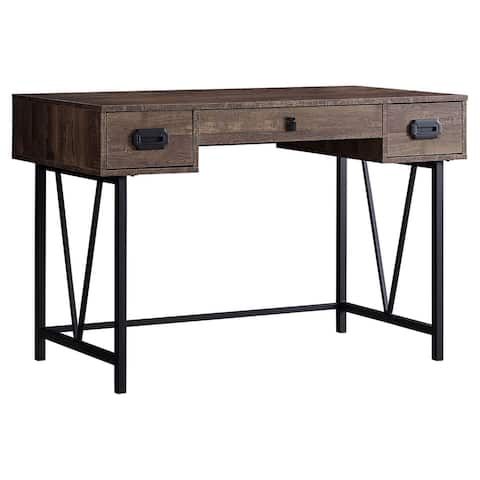 Offex Brown Reclaimed Wood-Look Computer/Writing Desk with Metal Legs