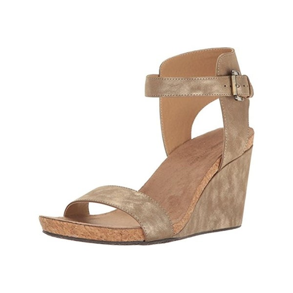 Adrienne Vittadini Womens Ted Wedge Sandals Metallic Open Toe - 7.5 medium (b,m)