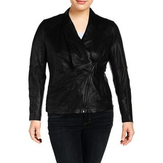 Anne Klein Womens Leather Jacket Spring Leather