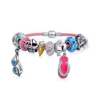 Bling Jewelry 925 Silver Beach Vacation Summer Charm Bead Bracelet