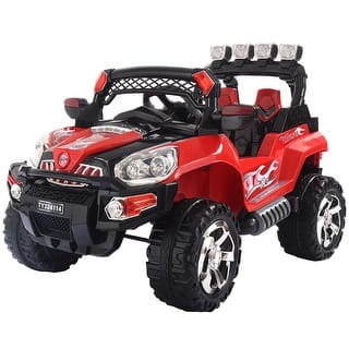 costway 12v kids ride on truck car suv mp3 rc remote control w led lights