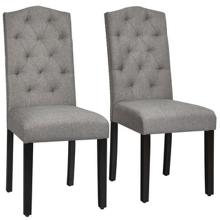 Link to Gymax Set of 2 Tufted Dining Chair Upholstered w/ Nailhead Trim & Similar Items in Kitchen & Dining Room Chairs