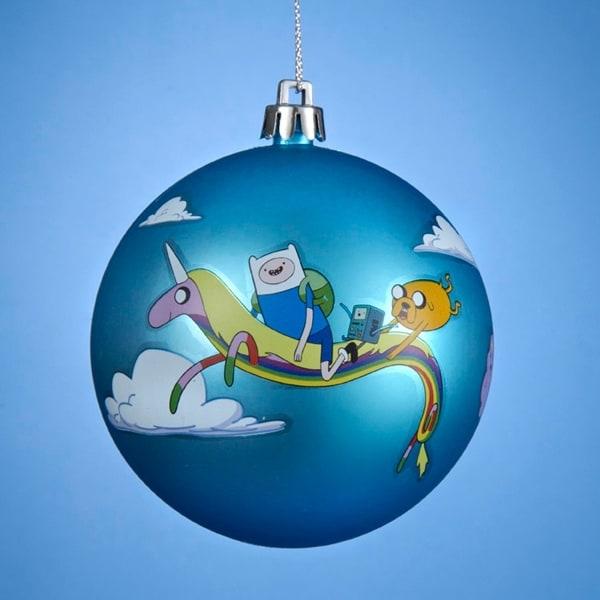 "3.25"" Adventure Time Jake and Finn on a Unicorn Matte Blue Shatterproof Ball Ornament"