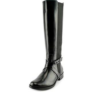 Steven Steve Madden Sydnee Wide Calf Women W Leather Black Knee High Boot