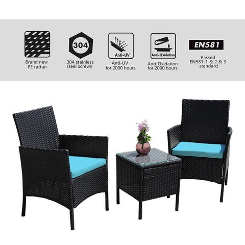3Pcs Outdoor Patio Ratten Seating Group with Chairs,Table and Cushions