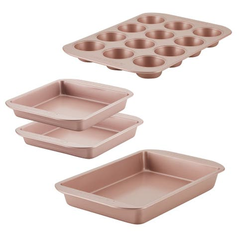 Farberware Nonstick Bakeware Set, 4-Piece, Rose Gold