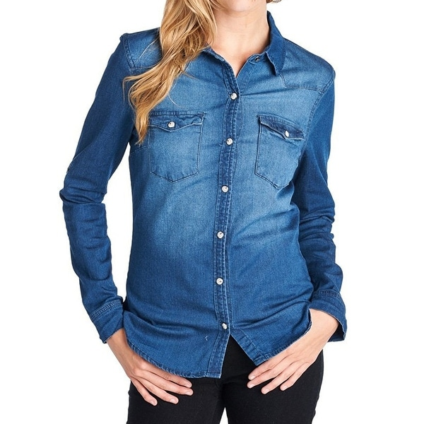 fb7042cc Shop Ci Sono NEW Blue Womens Size Medium M Chambray Denim Button Down Shirt  - Free Shipping On Orders Over $45 - Overstock - 19450649