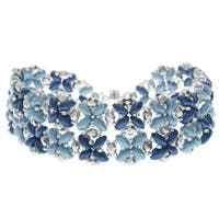 SuperDuo Blooms Bracelet - Blue - Exclusive Beadaholique Jewelry Kit