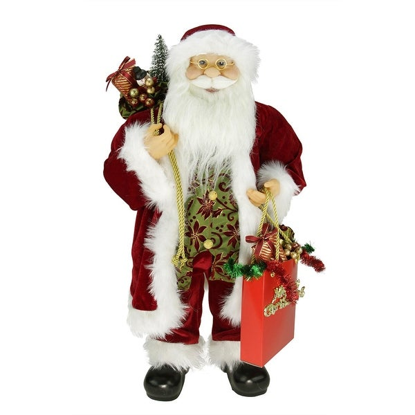 """24"""" Poinsettia Standing Santa Claus Figure with """"Merry Christmas"""" Gift Bag"""