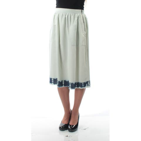 KIIND OF Womens Light Blue Frayed Knee Length A-Line Skirt Size: XS