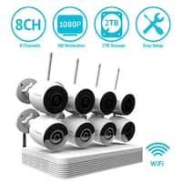 LaView 8 Channel 1080P Wi-Fi Auto-Pairing NVR Security System with (8) 1080P Bullet Wi-Fi IP Cameras and 2TB HDD