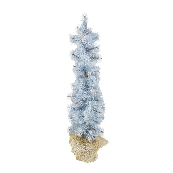 2' Winter Light Frosted Blue Pine Artificial Christmas Tree with Burlap Base - Unlit