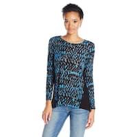 Kensie Long Sleeve Zigzag Print Top Shirt - s