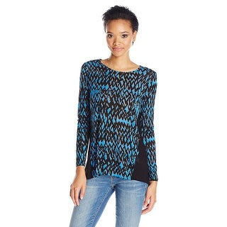 Kensie Long Sleeve Zigzag Print Top Shirt Blue Multi - S