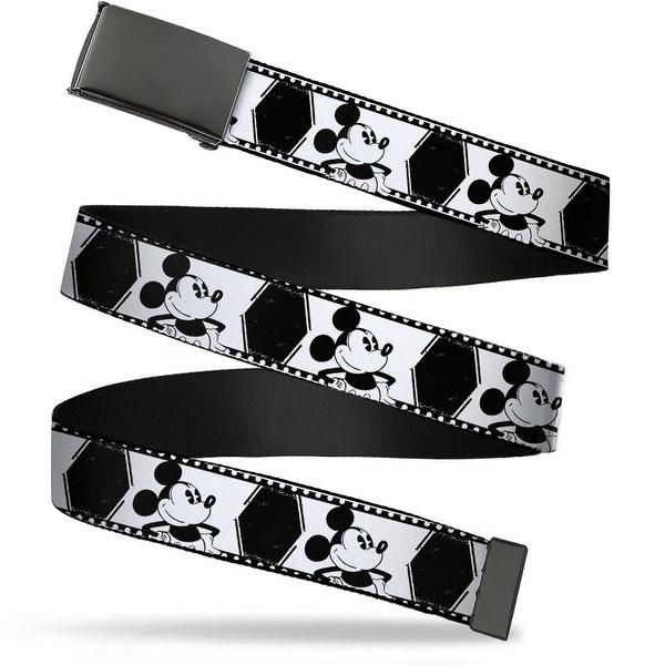 Blank Black Bo Buckle Mickey Standing Pose Film Strip White Black Web Belt
