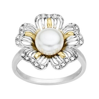Pearl Flower Ring with Diamonds in Sterling Silver and 14K Gold
