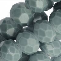 Chinese Glass Beads, Faceted Rondelles 6x4mm, Slate Gray, 1 Strand