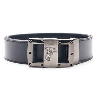 Versace Collection Men's Adjustable Medusa Stainless Steel Buckle Leather Belt Black - XL