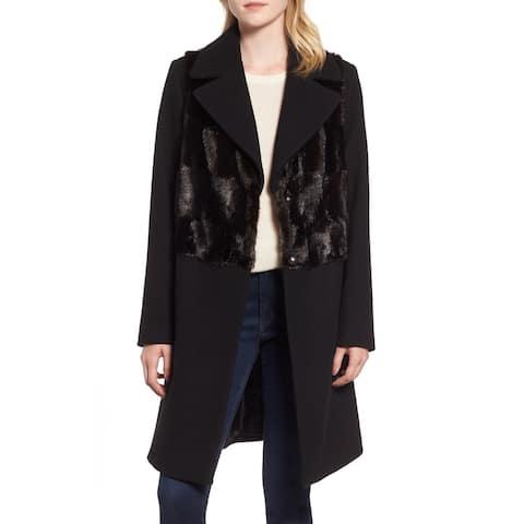 Rachel Rachel Roy Women's Coat Black Size Large L Faux-Fur Panel