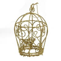 "5.5"" Glittery Gold Birdcage Christmas Ornament"