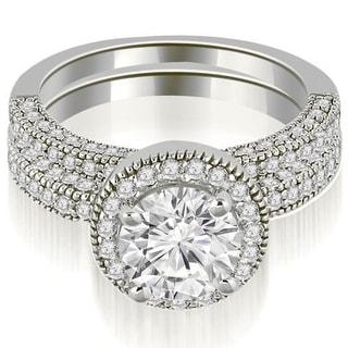 1 95 CT Single Halo Round Cut Diamond Matching Bridal Set In 14KT Gold White H I