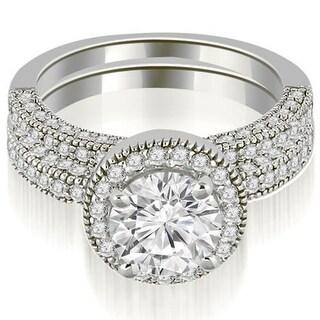 2.20 CT.TW Single Halo Round Cut Diamond Bridal Set in 14KT Gold - White H-I