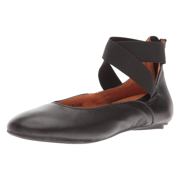 ae70323fbd8d Women  x27 s Arabesque Black Leather Ballet Flats - Strappy Zip Backs