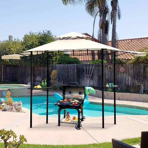 Nestfair 12 ft. x 8.5 ft. Steel Double Tiered Patio Grill Gazebo with Bar Counters