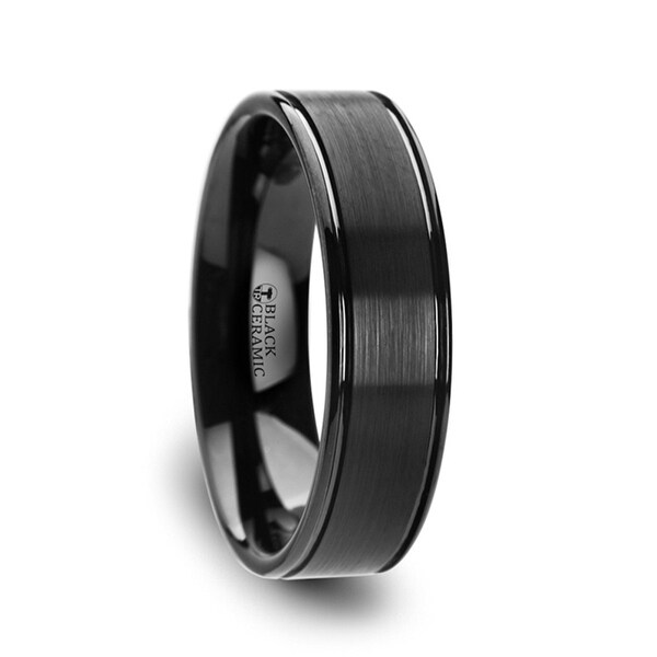 THORSTEN - BLACKHEART Flat Brushed Finish Center Black Ceramic Wedding Band with Dual Offset Grooves and Polished Edges - 6mm