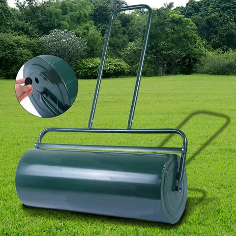 Gymax Tow Lawn Roller Water Filled Push Roller 24-Inch x 13-Inch Green