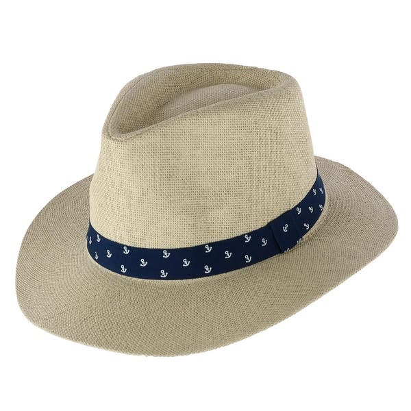 b652e4c125a4f1 Shop CTM® Men's Panama Hat with Anchor Print Band - Free Shipping On Orders  Over $45 - Overstock - 28025187 - Beige
