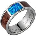 Titanium Wedding Band With Koa Wood & Opal Inlay 8mm - Thumbnail 0