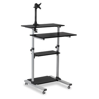 Mount-It! Mobile Stand Up Desk with Monitor Mount, Black - MI-7942