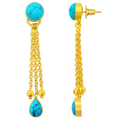 Turquoise Brass Pear Dangle Earrings by Fashionablez