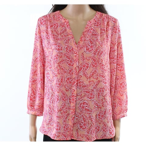 NYDJ Pink Womens Size Small S Paisley-Print Split-Neck Blouse