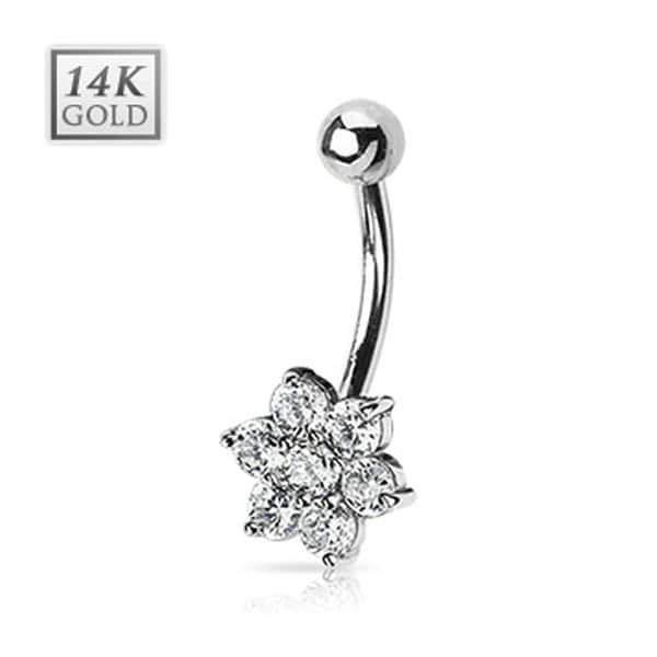 "14 Karat Solid White Gold Clear CZ Flower Navel Belly Button Ring - 14GA 3/8"" Long"