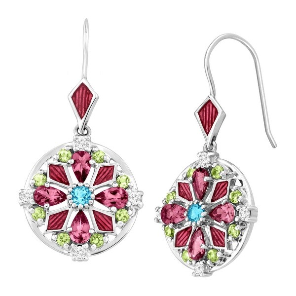 3 ct Multi Natural Semi-Precious Gem Medallion Drop Earrings in Sterling Silver