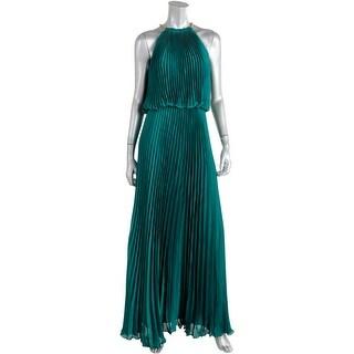 Aqua Womens Juniors Satin Halter Evening Dress